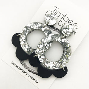 The Petal Hoop Dangle- Silver Flake Glitter with Black