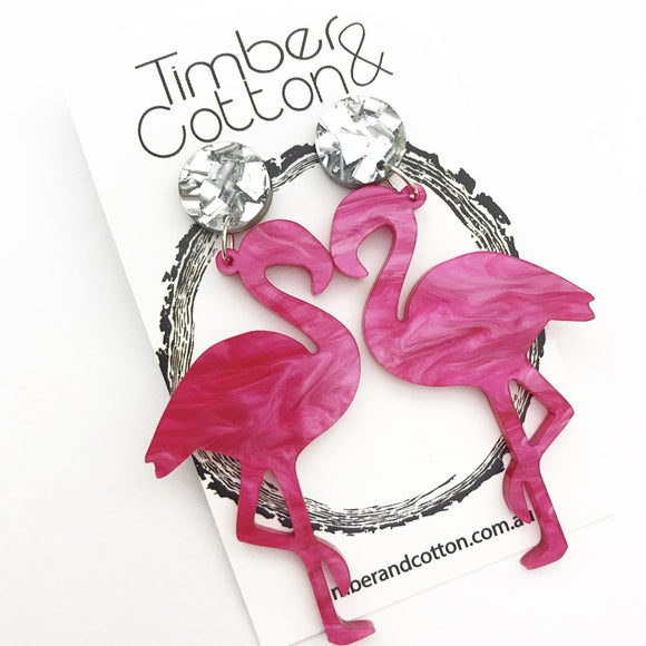 Flamingo Dangles- Silver Flake Glitter & Hot Pink Ripple