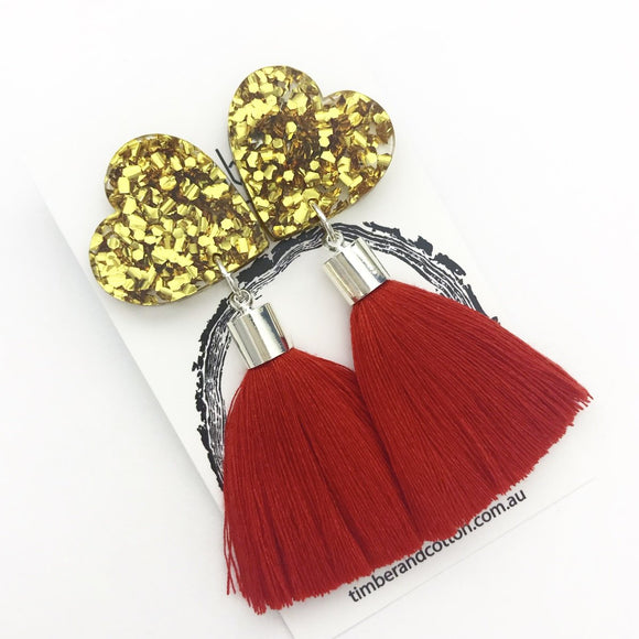 Large Heart Tassel Statement Earrings- Gold Flake Glitter with Red Tassel