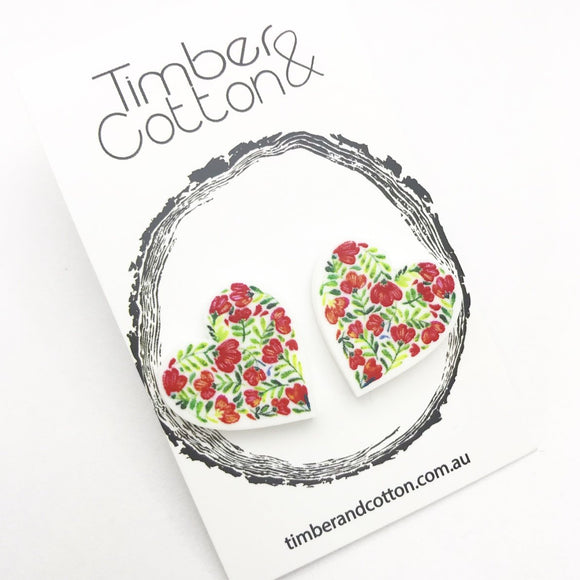 Floral Heart Studs 1