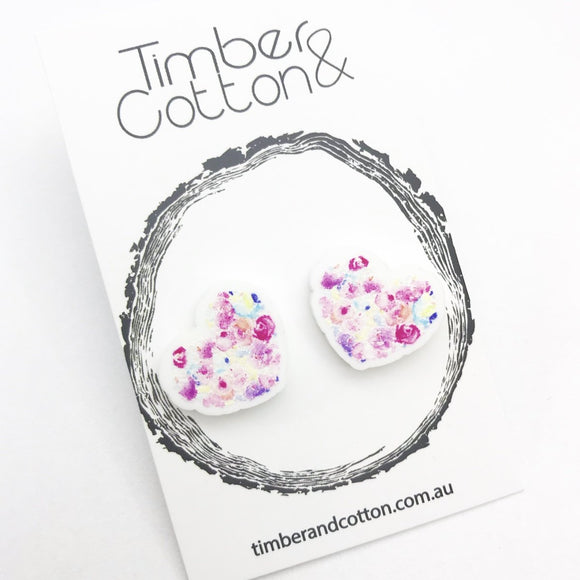 Floral Heart Studs 6