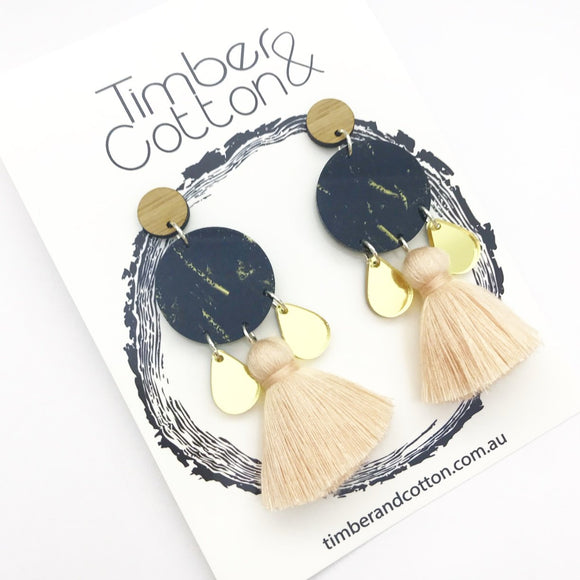 Bamboo, Black and Gold Glitter & Gold Mirror with Beigh Tassel 'Madi' Dangle