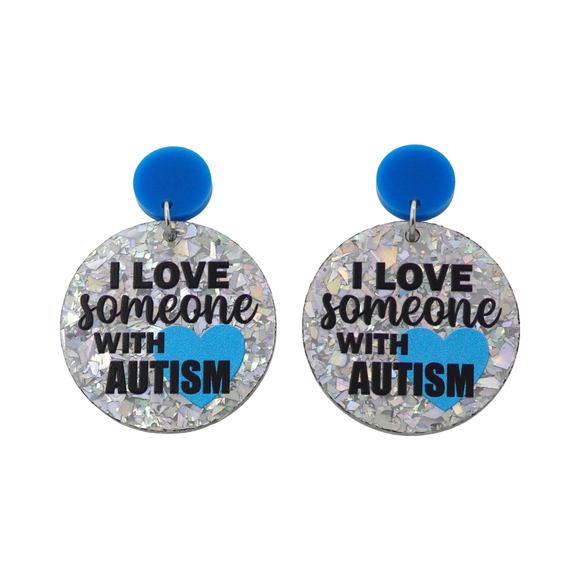 'I Love Someone With Autism' Dangle Earrings