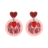 'Love You Berry Much' Love Pun Dangle Earring