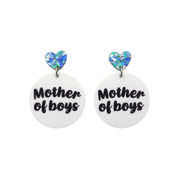 Mother of Boys Printed Dangle Earrings