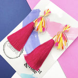 Protea Dangle with Hot Pink Tassel- Collaboration with Elephant & Rose