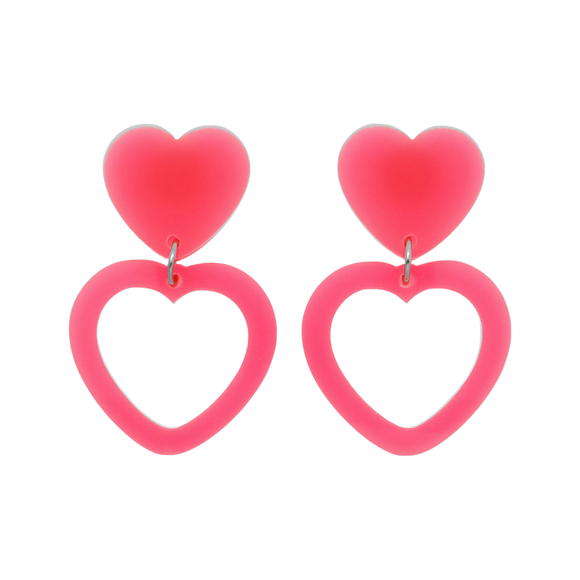 Heart Dangle Earring- Neon Pink