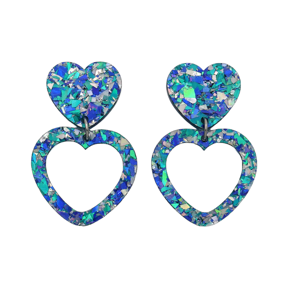Heart Dangle Earring- Ocean Flake