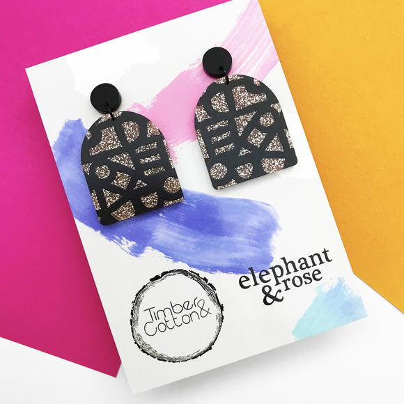 Black Painterly 'Sophie' Rose Gold Glitter Dangles- Collaboration with Elephant & Rose