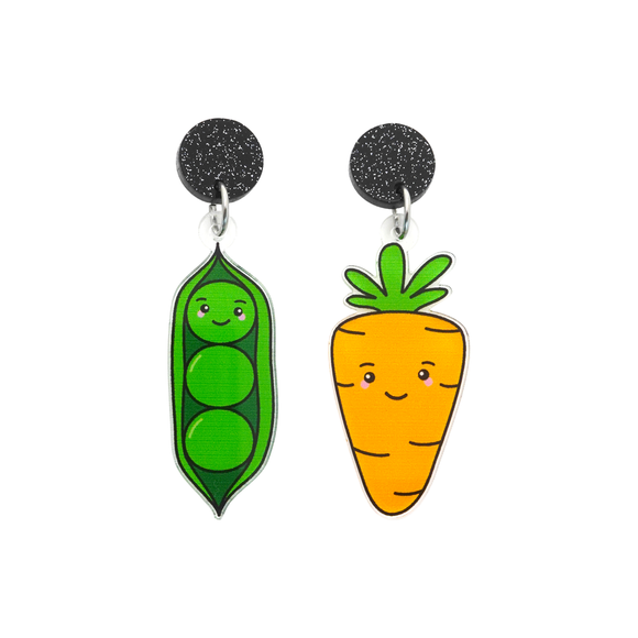 'Pea & Carrot' Food Dangle Earring