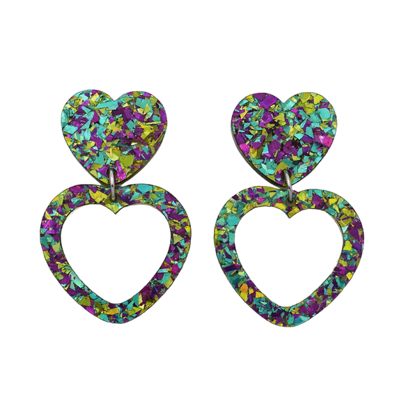 Heart Dangle Earring- Peacock Flake