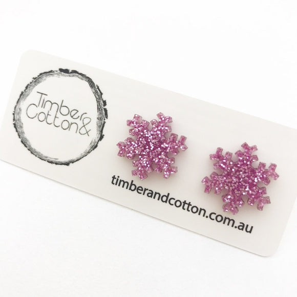 Christmas Snowflake in Pink Glitter- Timber & Cotton