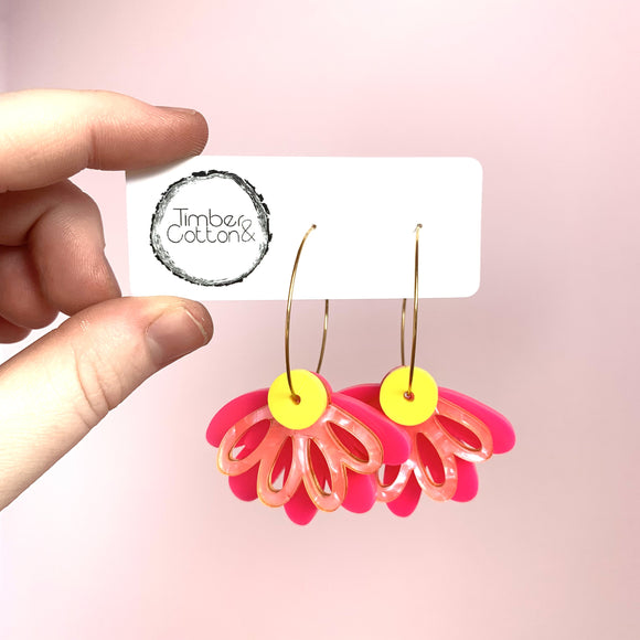 Oopsy Daisy Hoops- Hot Pink, Neon Pink & Yellow