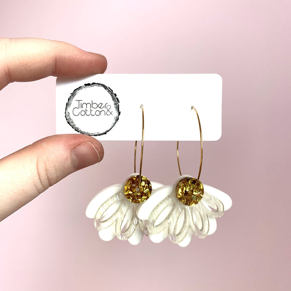 Oopsy Daisy Hoops- White & Chunky Gold Flake