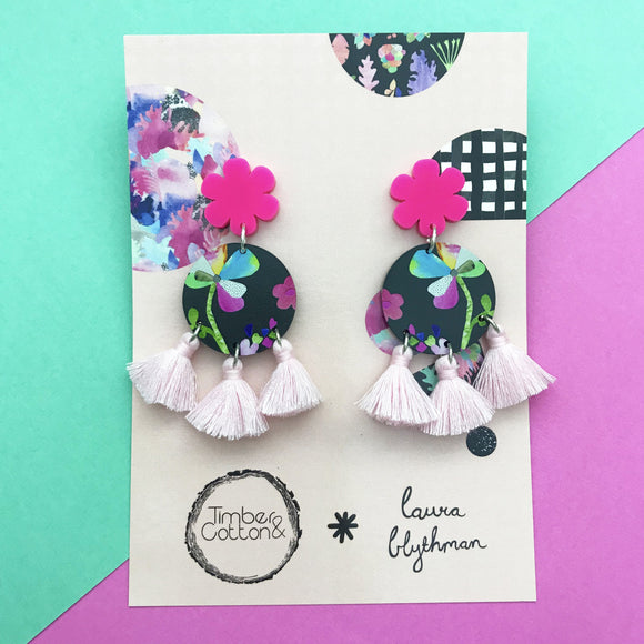 Floral Dreamsea & Blush Pink Triple Tassel Dangles- Timber & Cotton + Laura Blythman