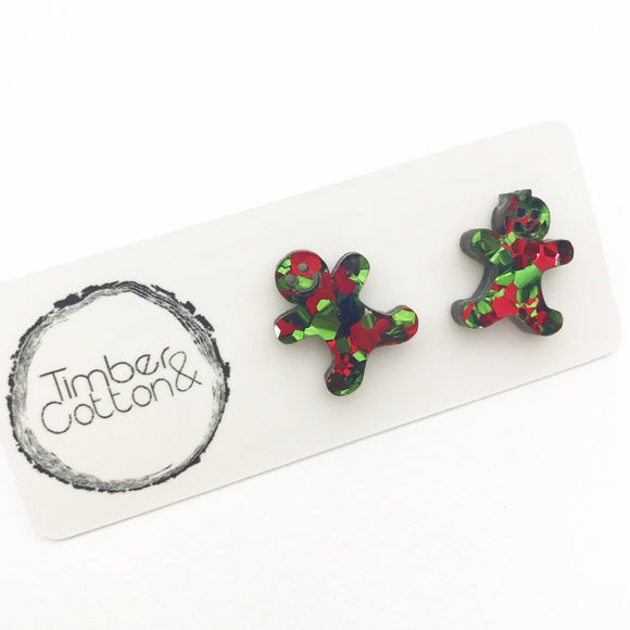 Mr & Mrs Gingerbread in Christmas Flake Glitter- Timber & Cotton