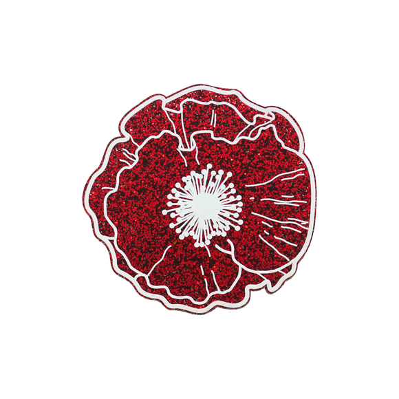 Red Glitter Poppy Brooch