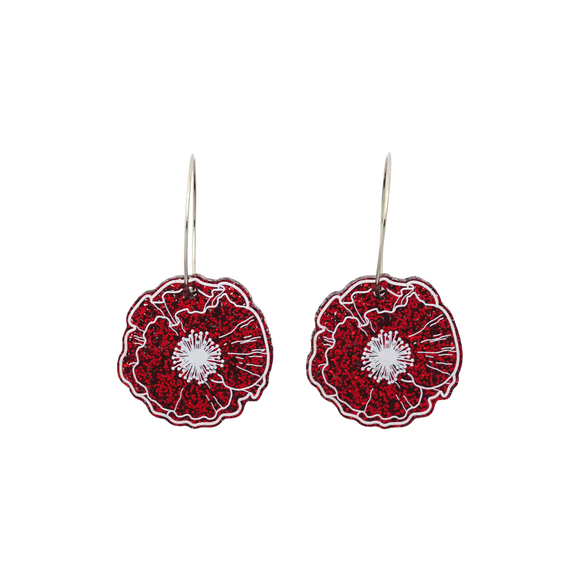 Red Glitter Poppy Hoop Dangle Earrings
