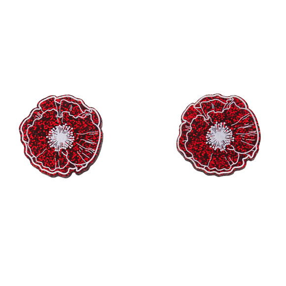 Red Glitter Poppy Statement Stud Earrings