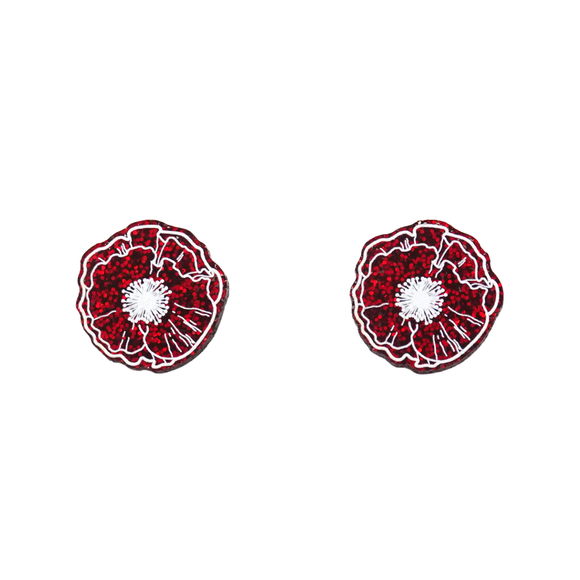Red Glitter Poppy Stud Earrings