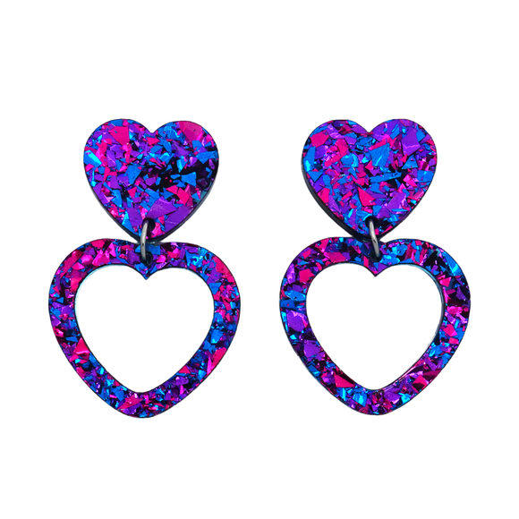 Heart Dangle Earring- Purple Party