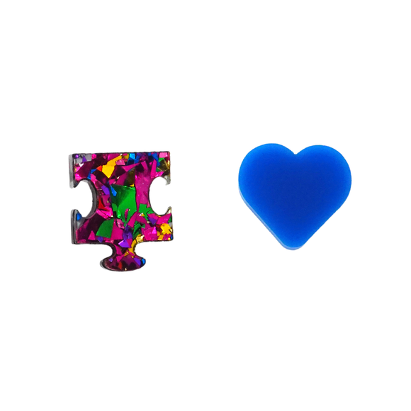 Autism Mismatch Puzzle & Heart Stud Earrings