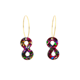 Rainbow Flake Infinity Symbol Hoop Dangle Earrings