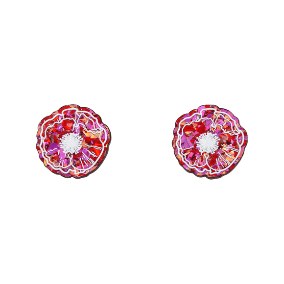 Love Flake Poppy Statement Stud Earrings