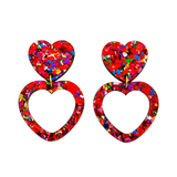Heart Dangle Earring- Red Rainbow Flake