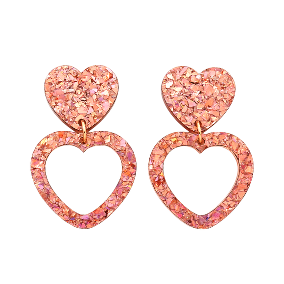 Heart Dangle Earring- Rose Gold Flake