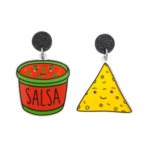 'Salsa & Corn Chip' Food Dangle Earring