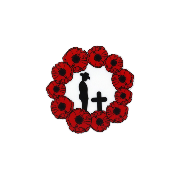 Solemn Soldier Silhouette in Poppy Wreath Brooch