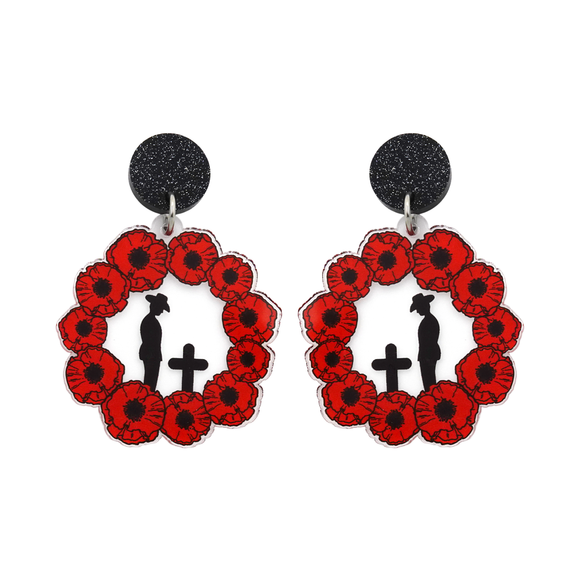 Solemn Soldier Silhouette in Poppy Wreath Dangle Earrings