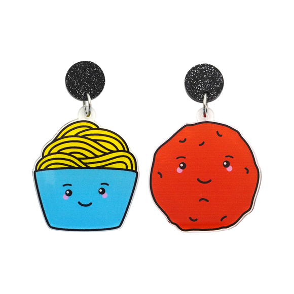 'Spaghetti & Meat Balls' Food Dangle Earring