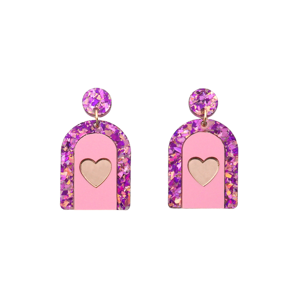 Heart Arch 'Unicorn Flake' Dangle Earrings