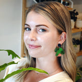 Monstera Pot Plant Stud Top Dangle Earring - Timber & Cotton + Brook Gossen