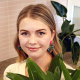 Rainbow Monstera Leaf Stud Top Dangle Earring - Timber & Cotton + Brook Gossen
