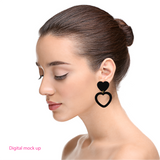 Heart Dangle Earring- Hot Pink