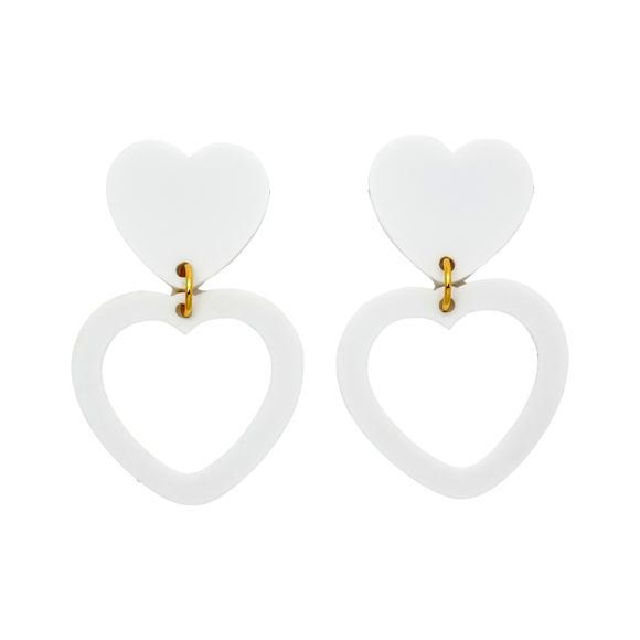 Heart Dangle Earring- Matte White