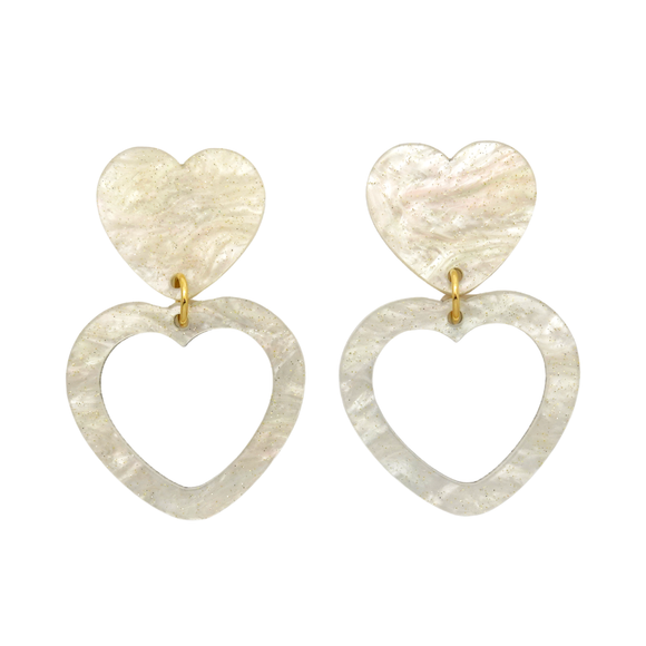 Heart Dangle Earring- White Ripple Glitter