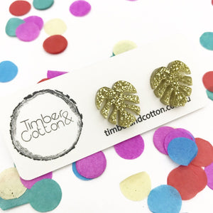 Monstera Leaf- Gold Glitter
