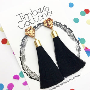Diamond- Copper Flake Glitter & Black 'Shake Your Tassel' Dangles