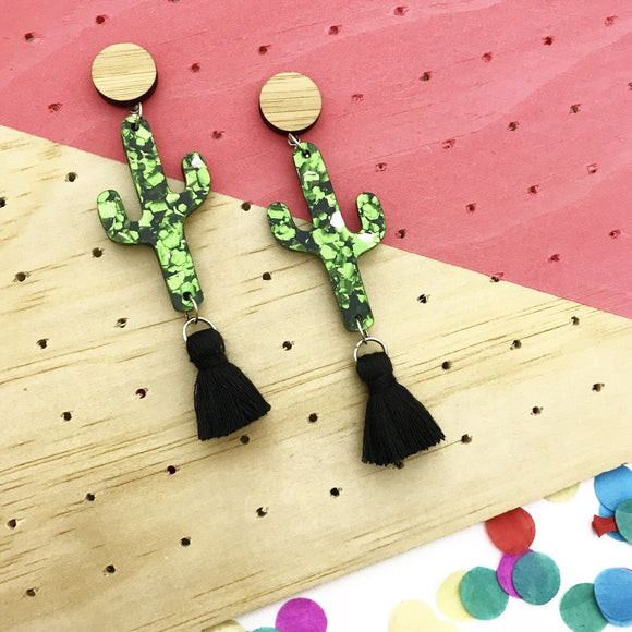 Bamboo & Green Flake 'Tasselled Cactus' Dangle