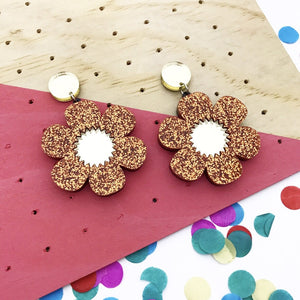 Flower Power- Orange glitter with gold mirror