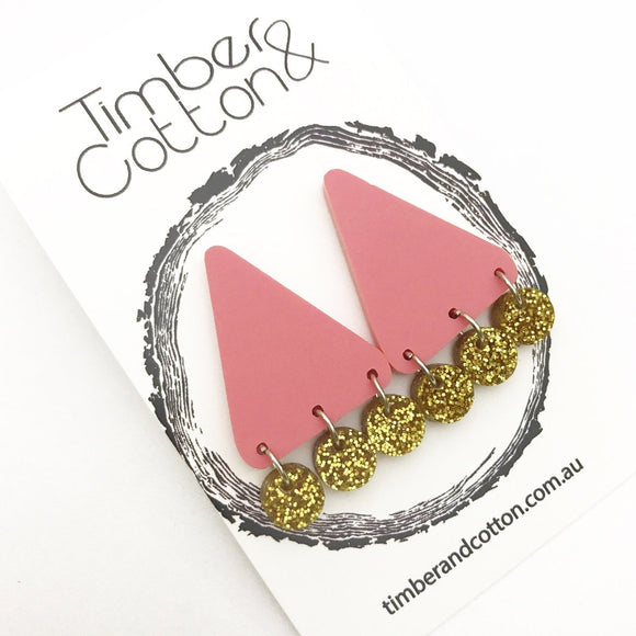 Coral & Gold Glitter Triangle Confetti Statement Studs