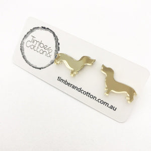 Sausage Dog- Gold Mirror