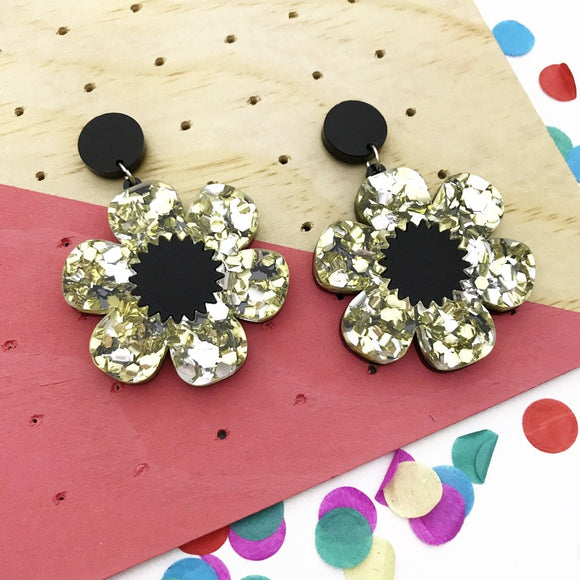Flower Power- Silver & gold glitter with black
