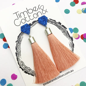 Diamond- Blue Glitter & Peach 'Shake Your Tassel' Dangles