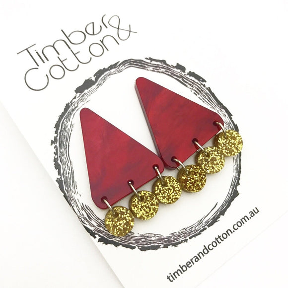 Red Ripple & Gold Glitter Triangle Confetti Statement Studs