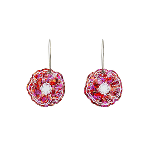 Love Flake Poppy Hoop Dangle Earrings